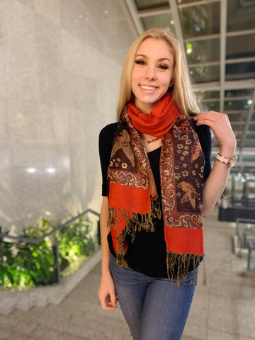 Red Metallic- Pashmina Scarf