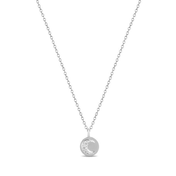 14K Solid Gold Round Diamond Moon and Sun Necklace White Gold