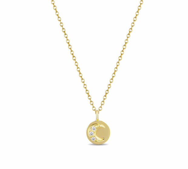 14K Solid Gold Round Diamond Moon and Sun Necklace