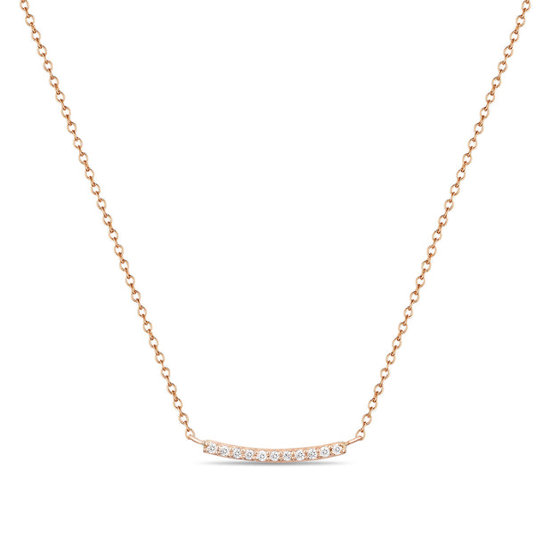 14K Solid Gold Pave Diamond Bar Necklace Rose Gold