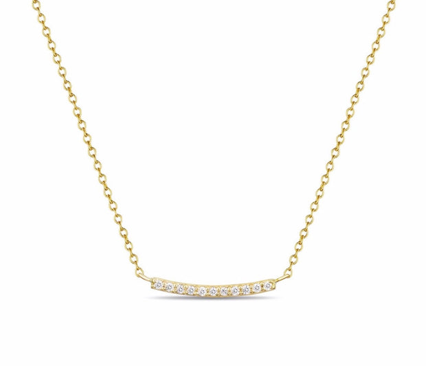 14K Solid Gold Pave Diamond Bar Necklace