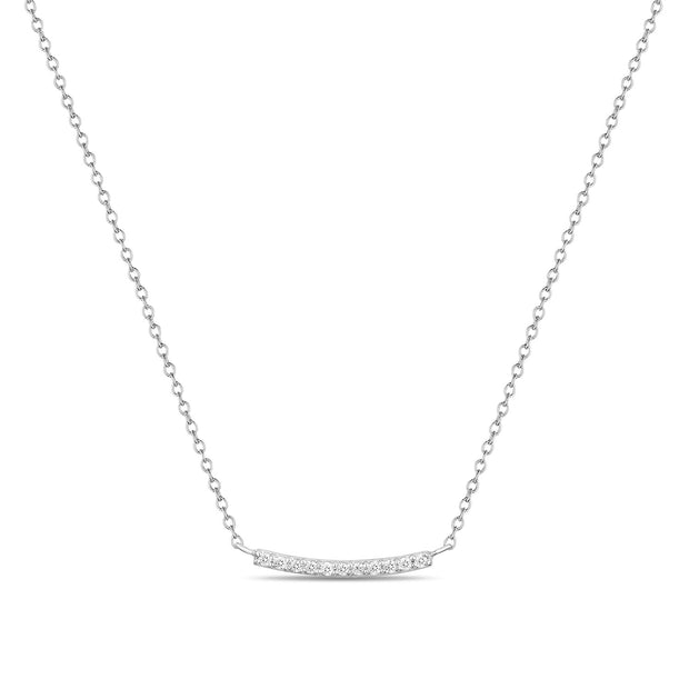 14K Solid Gold Pave Diamond Bar Necklace White Gold