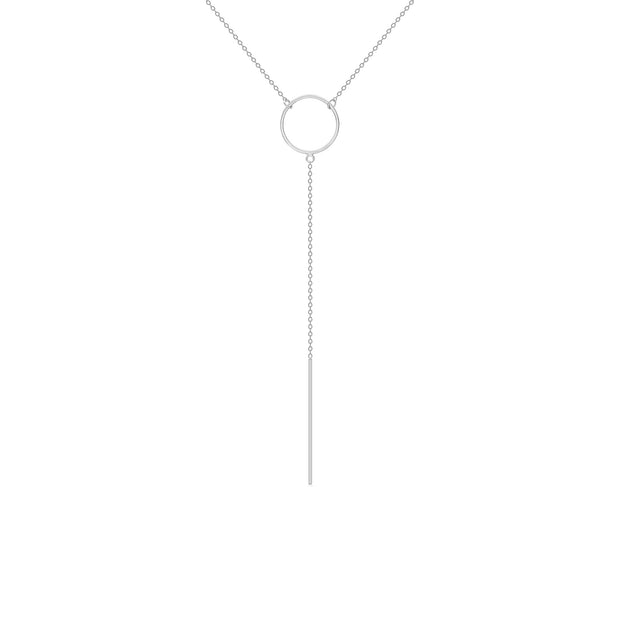 14K Solid Gold Karma Lariat Drop Necklace