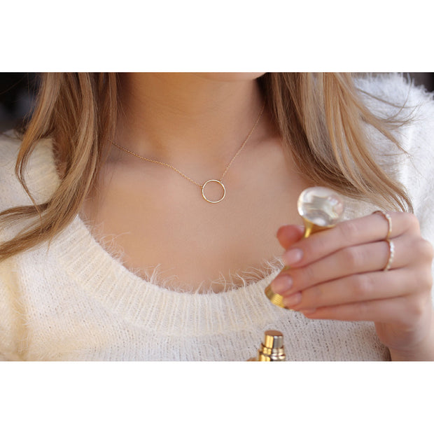 14K Solid Gold 15MM Meaningful Karma Halo Necklace Model 2