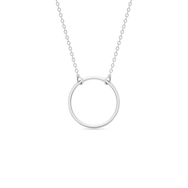 14K Solid Gold 15MM Meaningful Karma Halo Necklace White Gold