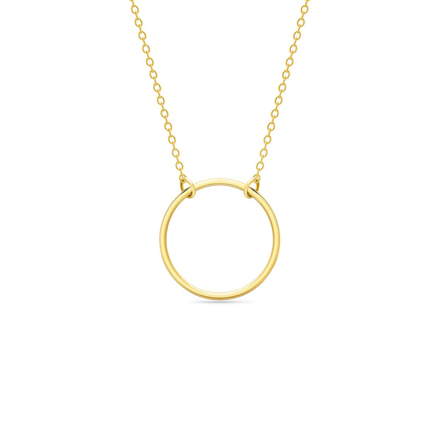 14K Solid Gold 15MM Meaningful Karma Halo Necklace