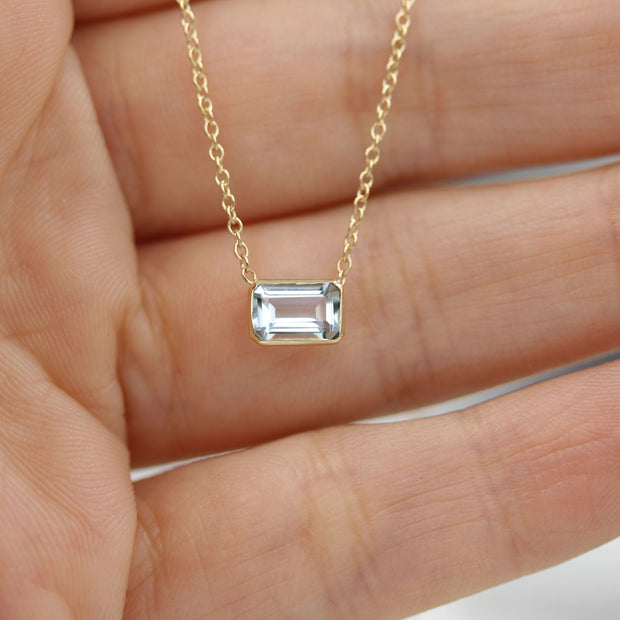 14K Solid Gold Natural Aquamarine Solitaire Bezel Necklace Lifestyle 2
