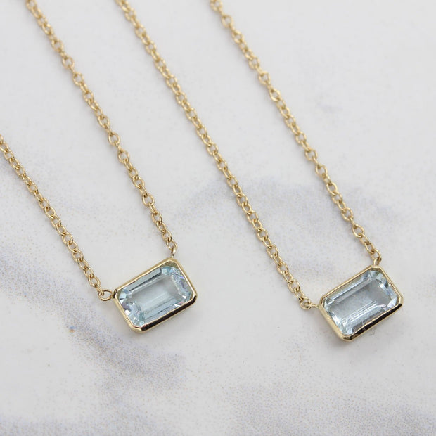 14K Solid Gold Natural Aquamarine Solitaire Bezel Necklace Lifestyle 1
