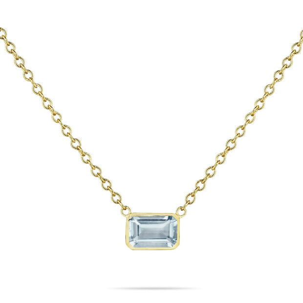 14K Solid Gold Natural Aquamarine Solitaire Bezel Necklace