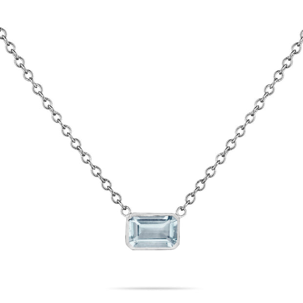 14K Solid White Gold Natural Aquamarine Solitaire Bezel Necklace