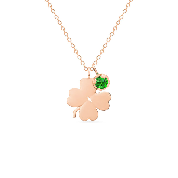 14K Solid Gold Meaningful Lucky Birthstone Necklace Rose Gold