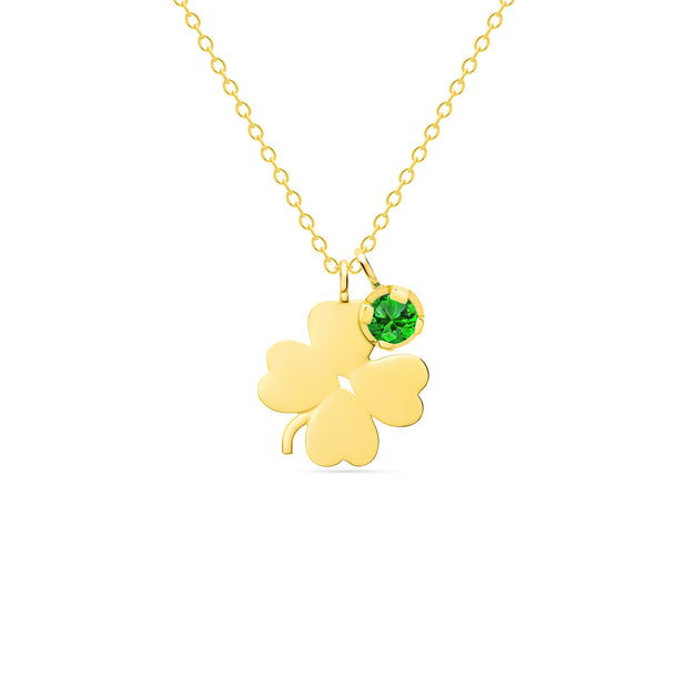 14K Solid Gold Meaningful Lucky Birthstone Necklace