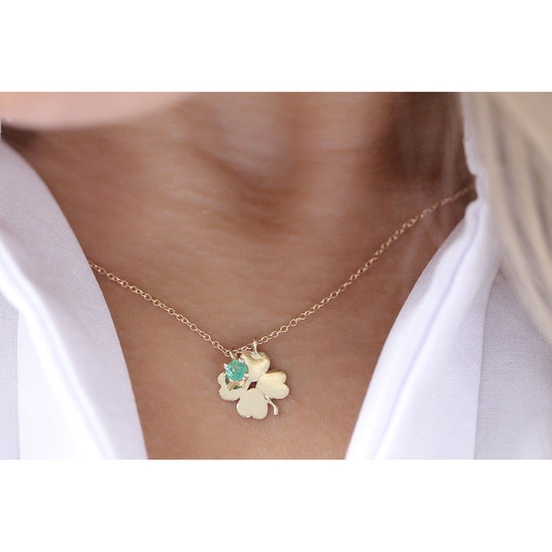 14K Solid Gold Meaningful Lucky Birthstone Necklace Model