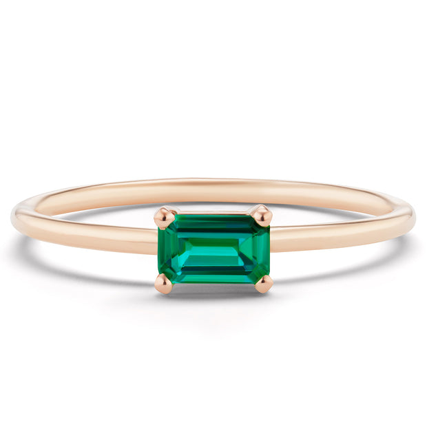14K Solid Gold Green Emerald Minimalist Ring Rose Gold
