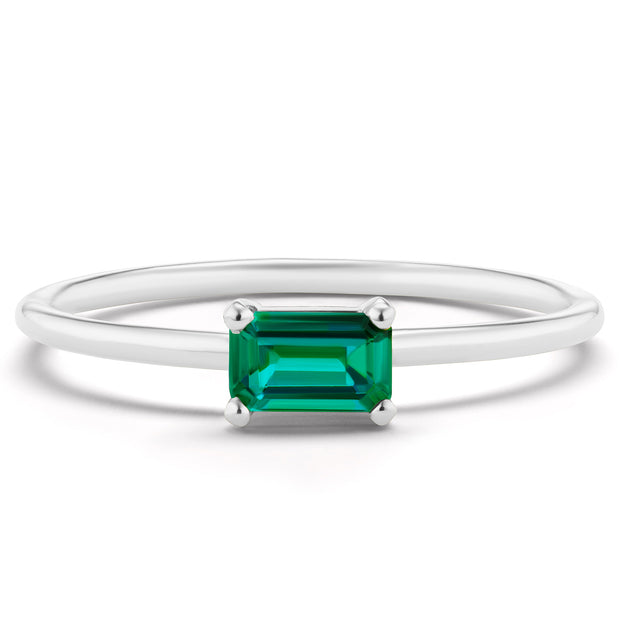 14K Solid Gold Green Emerald Minimalist Ring White Gold