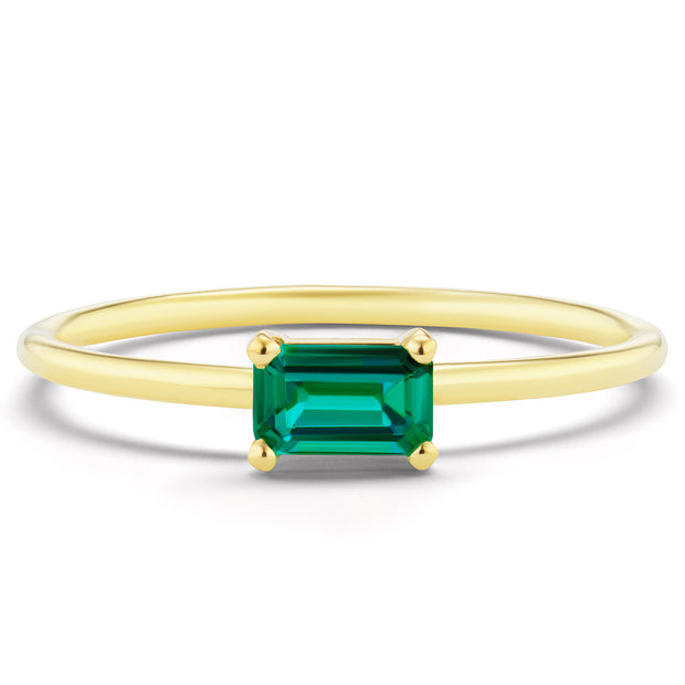 14K Solid Gold Green Emerald Minimalist Ring