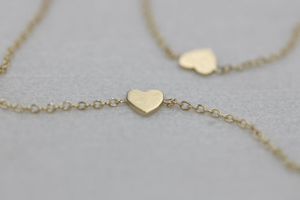 14K Solid Gold Meaningful Hearts by The Yard Necklace