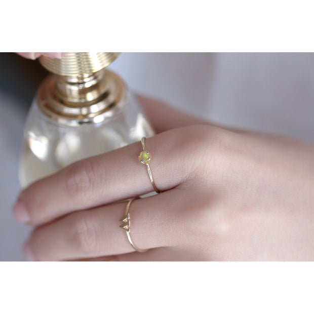 14K Solid Gold Natural Opal Minimalist Ring Model