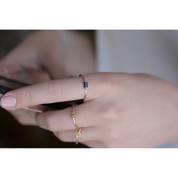 14K Solid Gold Blue Sapphire Baguette Minimalist Ring Model 2