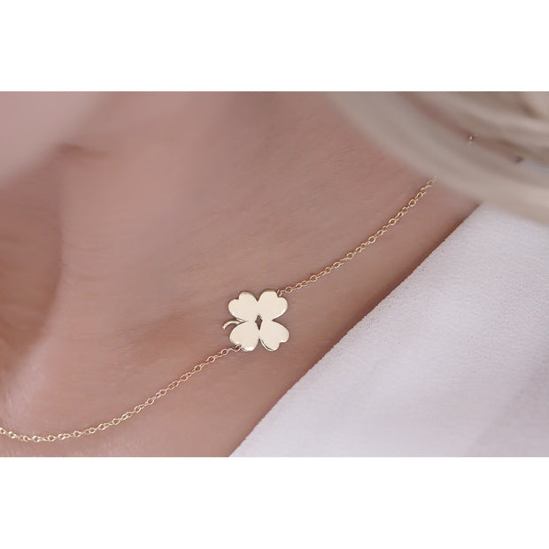 14K Solid Gold Meaningful Lucky Sideways Clover Necklace Model 2