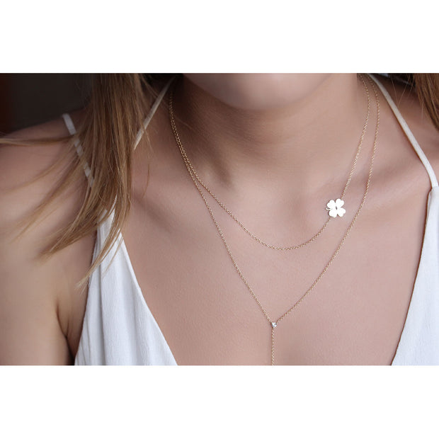 14K Solid Gold Meaningful Lucky Sideways Clover Necklace Model 1