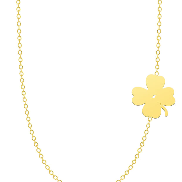 14K Solid Gold Meaningful Lucky Sideways Clover Necklace
