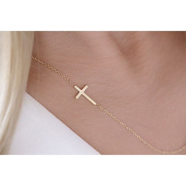 14K Solid Gold Meaningful Sideways Cross Necklace Model 2