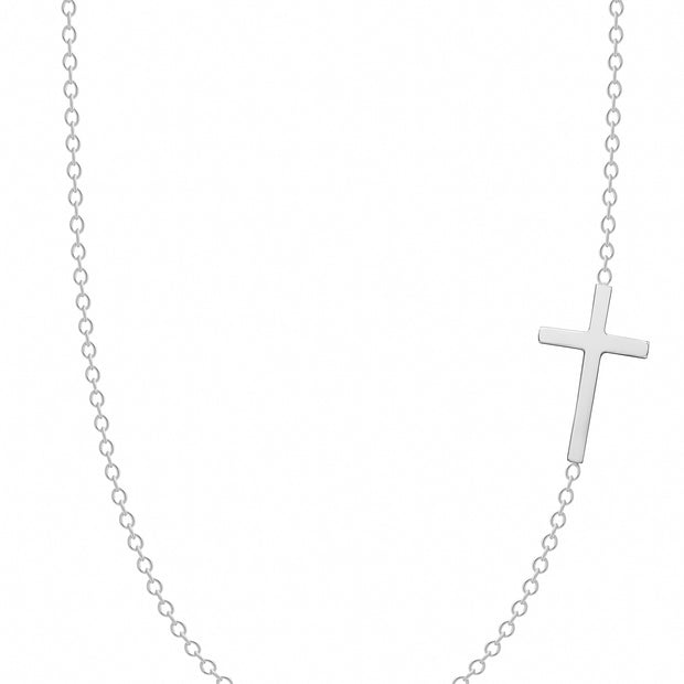 14K Solid Gold Meaningful Sideways Cross Necklace White Gold