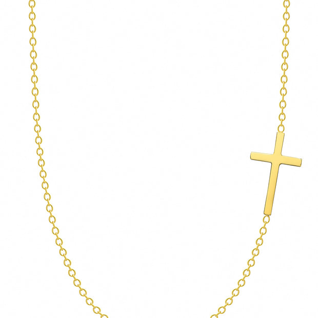 14K Solid Gold Meaningful Sideways Cross Necklace