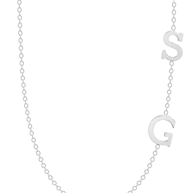 14K Solid Customizable Double Initials Sideways Necklace