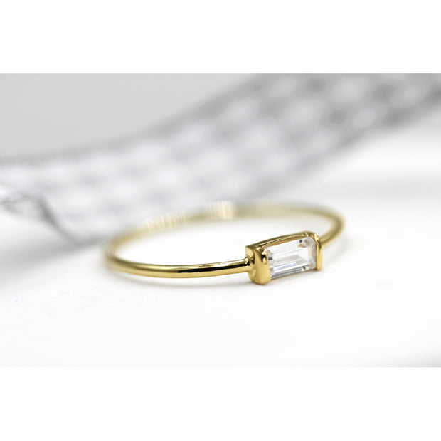 14K Solid Gold White Sapphire Baguette Minimalist Ring