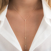 14K Solid Gold Prong set Diamond Lariat Necklace