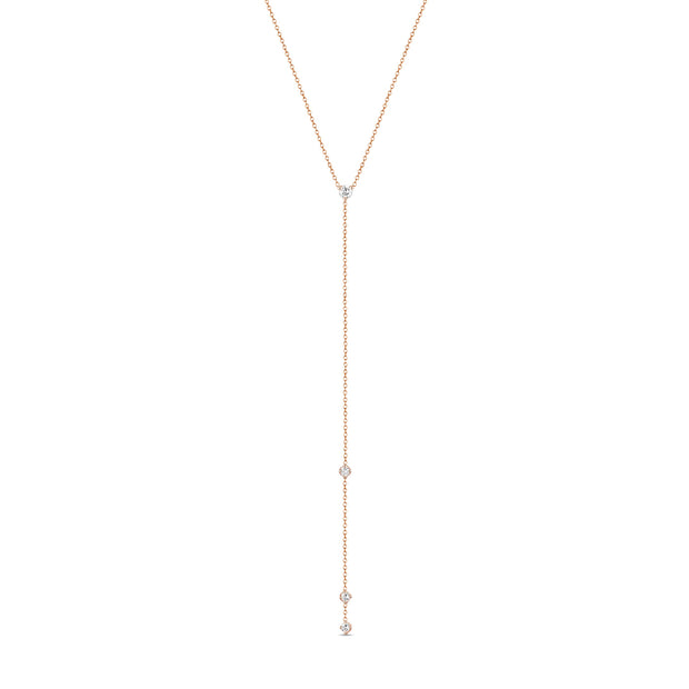 14K Solid Gold Prong set Diamond Lariat Necklace Rose Gold