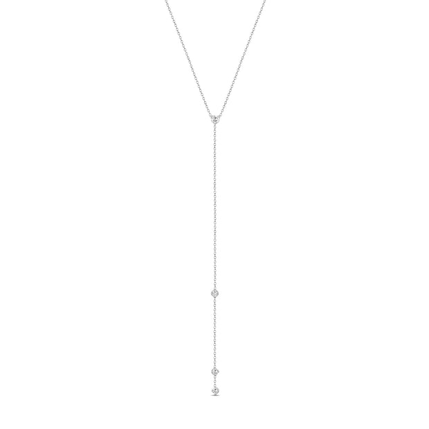 14K Solid Gold Prong set Diamond Lariat Necklace White Gold