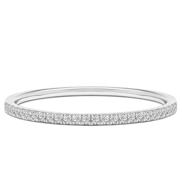 14K Solid White Gold Slim Half Eternity Diamond Pave Band