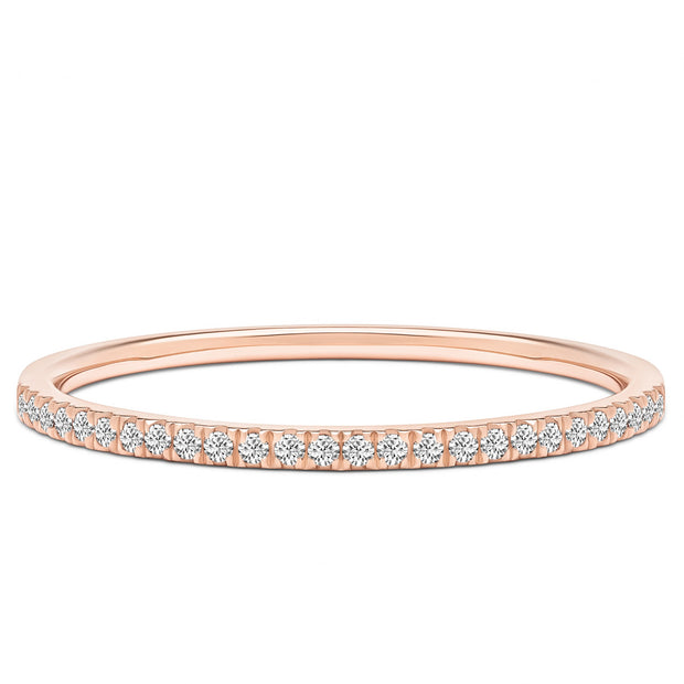 14K Solid Rose Gold Slim Half Eternity Diamond Pave Band