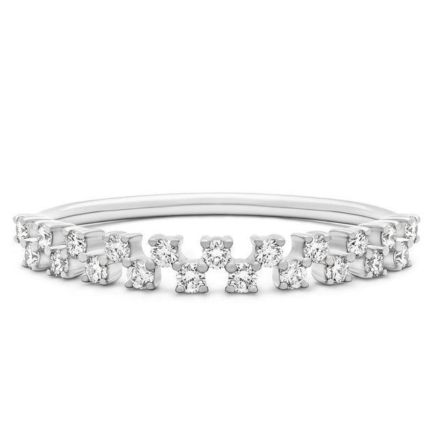 14K Solid White Gold Double Row Half Eternity Pave Band