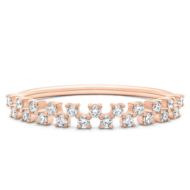 14K Solid Rose Gold Double Row Half Eternity Pave Band