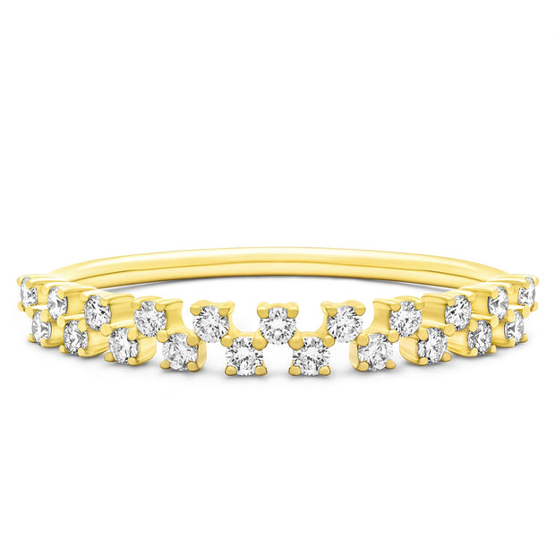 14K Solid Gold Double Row Half Eternity Pave Band