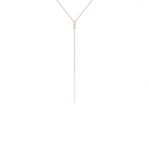 14K Solid Rose Gold Three Stone Diamond Lariat Necklace