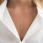 14K Solid Gold Three Stone Diamond Lariat Necklace Lifestyle 1