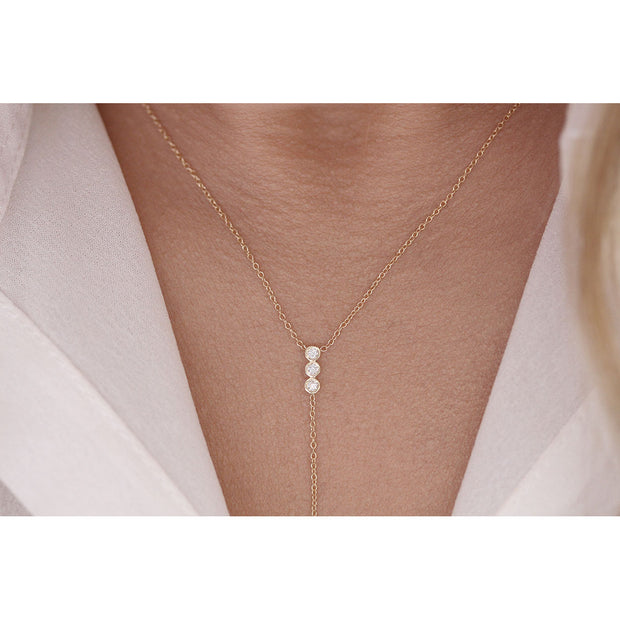 14K Solid Gold Three Stone Diamond Lariat Necklace Model 2