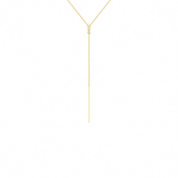 14K Solid Gold Three Stone Diamond Lariat Necklace