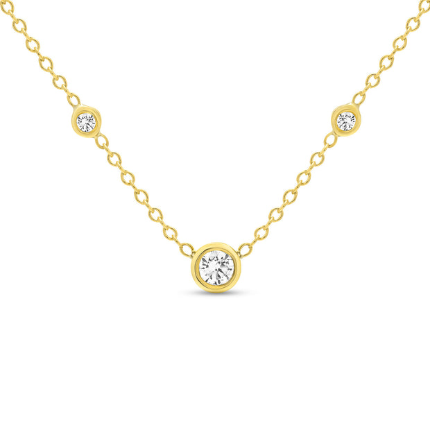 14K Solid Gold Diamond Solitaire Three Diamond Necklace