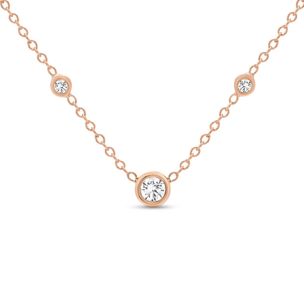 14K Solid Gold Diamond Solitaire Three Diamond Necklace Rose Gold