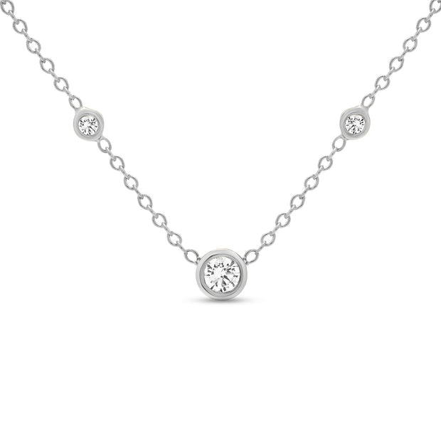14K Solid Gold Diamond Solitaire Three Diamond Necklace White Gold
