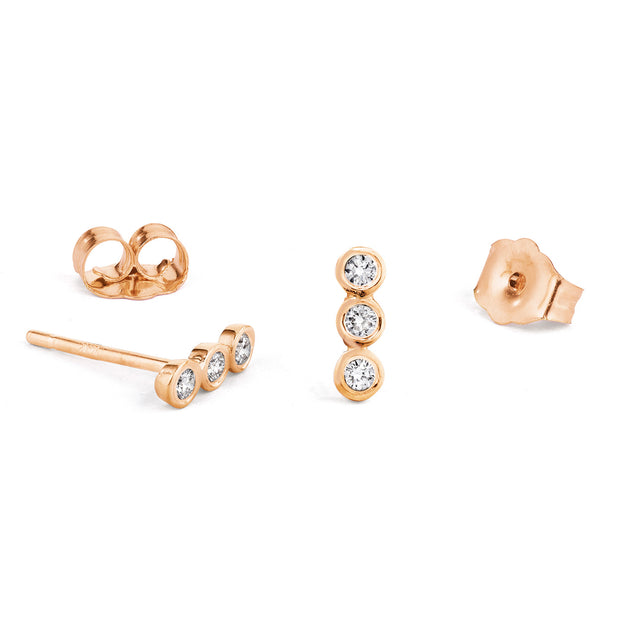 14K Solid Gold Diamond Bezel Bar Studs Rose Gold