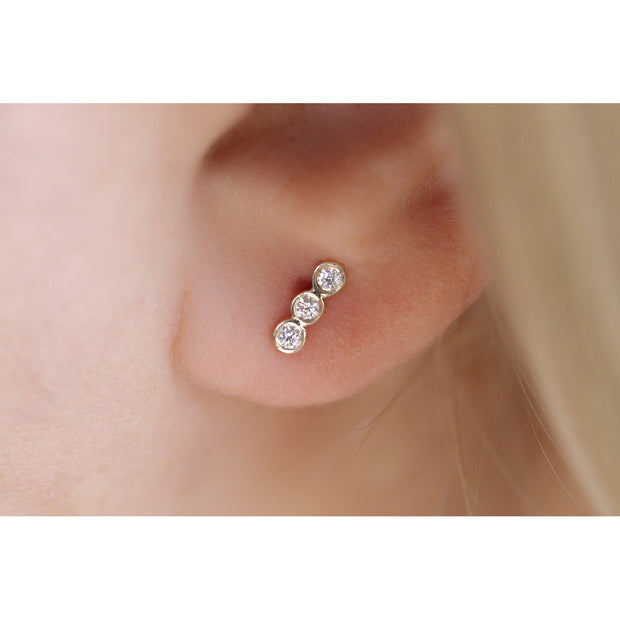 14K Solid Gold Diamond Bezel Bar Studs Model