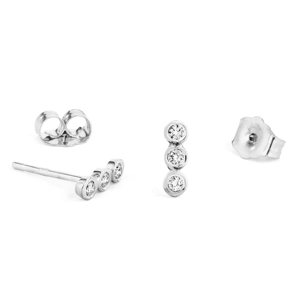 14K Solid Gold Diamond Bezel Bar Studs White Gold