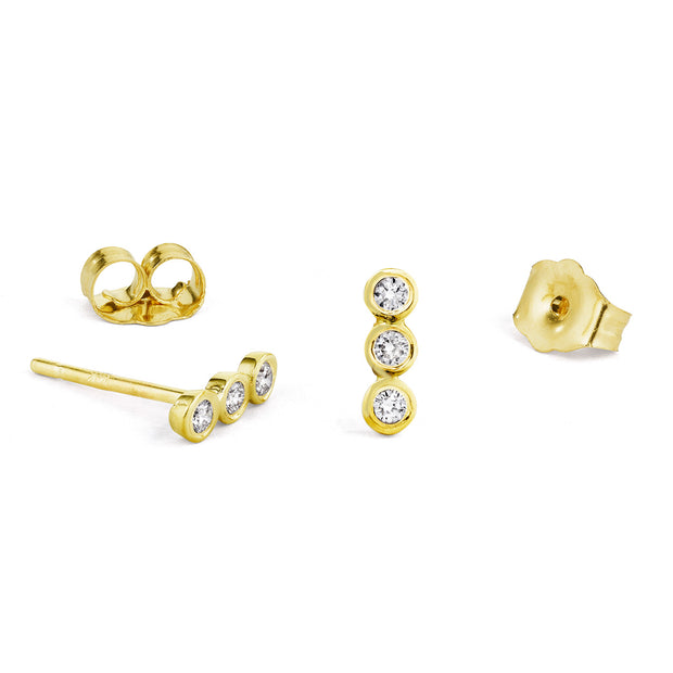 14K Solid Gold Diamond Bezel Bar Studs